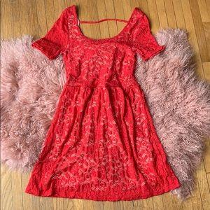 Scoop Neck Short Sleeve Strawberry Lace Dress